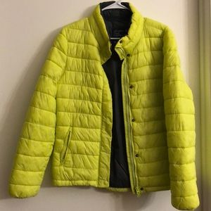 Chartreuse puffer jacket with zipper pockets